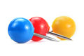 Three round push pins colorful on white background Royalty Free Stock Photos