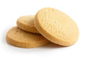 Three round shortbread biscuits isolated on white Stock Photo
