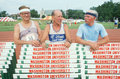 Three runners at the Senior Olympics Stock Photography