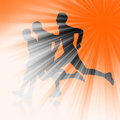 Three runners silhouette of illustration Stock Photography