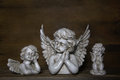 Three sad angels decoration for bereavement or idea a condolence card Royalty Free Stock Photography