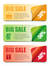 Three sales banners with icons for web or print Royalty Free Stock Photo