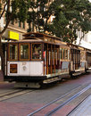 Three San Francisco Cable Cars at Powell Street Terminal Royalty Free Stock Photo
