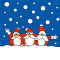 Three Santa Claus together in the snow Royalty Free Stock Photos