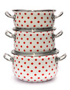 Three Saucepans with Red Dots isolated on white Royalty Free Stock Photo