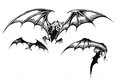 Three Scary Halloween Bats in Flight Royalty Free Stock Photo