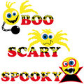 Three scary halloween smileys with text Royalty Free Stock Photo