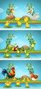 Three scenes of farm animals by river