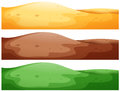 Three scenes of hills with different color ground