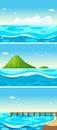 Three scenes of ocean at daytime