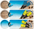 Three sea holiday banners n with blue water wooden floor with sand flippers and blue snorkel diving seashells and blue arrow Stock Images