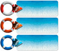 Three sea holiday banners n set of with blue water of the lifebuoy and arrow Royalty Free Stock Photography