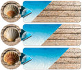 Three sea holiday banners n set of with blue water of the wooden floor with summer sand seashell and blue arrow Royalty Free Stock Photography