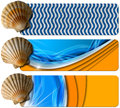 Three sea holiday banners n set of with seashell stylized waves and orange beach concept of summer vacations Stock Image