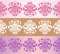 Three seamless floral borders Royalty Free Stock Photo