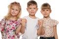 Three serious children