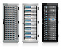 Three servers server in cabinets data storage systems information technology Stock Image