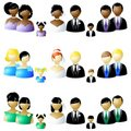 Three sets of wedding party icons Stock Image