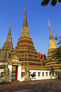 Three sharp pagoda with blue sky at wat pho temple in bangkok thailand Royalty Free Stock Photos
