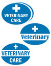 Three sign of veterinary care blue advertise signs Royalty Free Stock Image