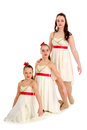 Three sisters dance trio in same costume dancers perform as recital Royalty Free Stock Images