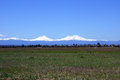 Three sisters volcanos from the east oregon cascades range near redmond oregon Stock Image