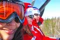 Three skiers Stock Image