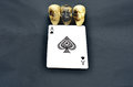 Three skulls with ace of spades and the Royalty Free Stock Image