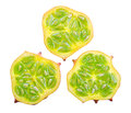 Three slices of fruit kiwano isolated on white background Stock Photography
