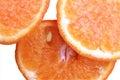 Three slices of orange macro shot isolated Stock Photo