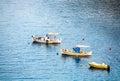 three small fishing boats in a row Royalty Free Stock Photo