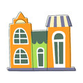 Three Small Houses Close To Each Other In Green And Orange Color, Cute Fairy Tale City Landscape Element Outlined