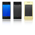 Three smartphone mobile phones set on a white background Royalty Free Stock Photography