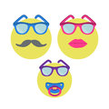 Three smiles. Smiley woman in sunglasses with lipstick, man with moustache and baby with nipple. Royalty Free Stock Photo