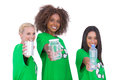 Three smiling enviromental showing matierials recyclable on white background Stock Images