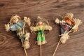 Three smiling scarecrows Royalty Free Stock Photo