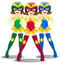 Three smiling superheroes illustration of the on a white background Stock Photo