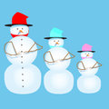 Three snowman in colorful hat