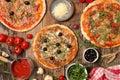 Three sort of pizza Royalty Free Stock Photo