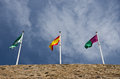 Three spain flags of andalusia and malaga Stock Photography