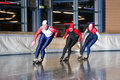 Three speed skaters Royalty Free Stock Photography