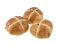 Three spicy easter hot cross buns isolated white background Royalty Free Stock Images