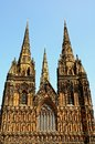 Three spies of cathedral lichfield england west front view the showing the spires staffordshire western europe Royalty Free Stock Photos