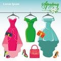 Three Spring  Dresses On A Han...