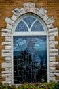 Three Stained Glass Church Windows, Jesus as Shepherd Royalty Free Stock Photo