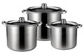 Three stainless steel pots isolated Royalty Free Stock Photo