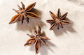 Three star anise on paper Stock Image