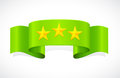 Three stars on green band with Royalty Free Stock Photos