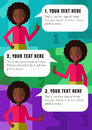 Three steps of realization your idea with African American girl in vector Royalty Free Stock Photo