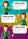 Three steps of realization your idea with brunette girl in vector Stock Images